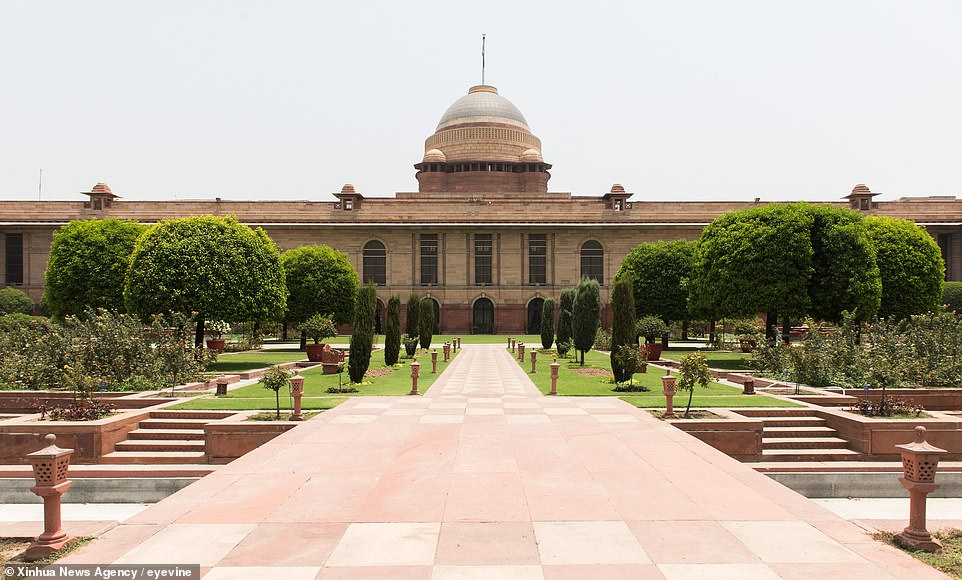 Rashtrapati Bhavan, or Presidential Residence of India, locates on the Raisina Hill in the capital city. It was designed by Britain architect Sir Edwin Lutyens as the home of the Viceroys of India in 1921 and completed in 1929
