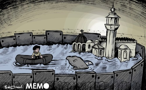 Israel preventing Palestinians from returning to their homes in Jerusalem - Cartoon [Sabaaneh]