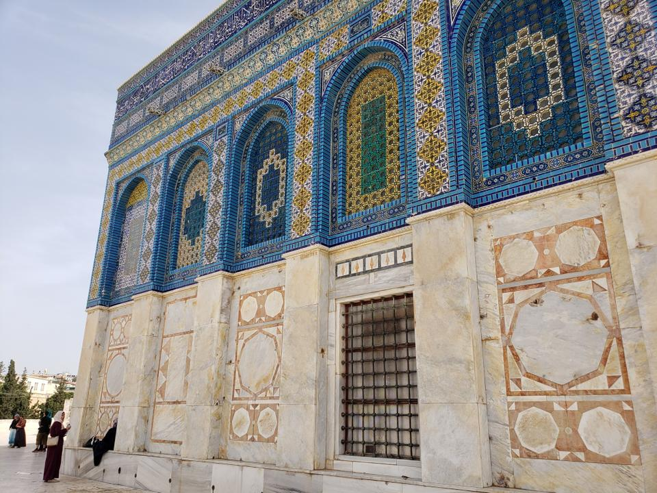 The Dome of the Rock on the Temple Mount in the Old City of Jerusalem. Israeli bullet marks can be seen on the marble sides.