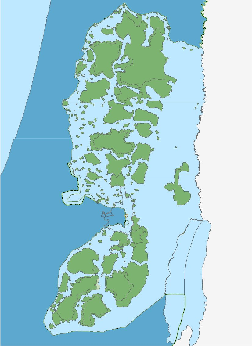 Map of the West Bank, the Israeli occupied Palestinian territory. Palestinian areas are green. Blue areas are Israeli-controlled. Image supplied