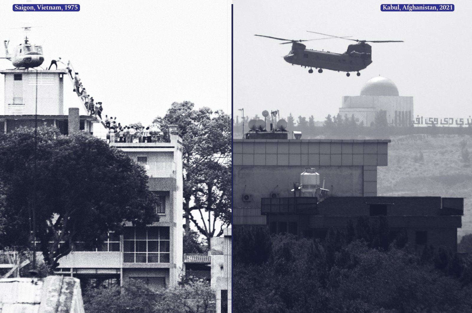 A combination picture of a CIA employee (most likely O.B. Harnage) helping Vietnamese evacuees onto an Air America helicopter from the top of 22 Gia Long Street, a half mile from the U.S. Embassy, Saigon, Vietnam, April, 1975 and a U.S. Chinook helicopter flying over the U.S. Embassy in Kabul, Afghanistan, Aug. 15, 2021.