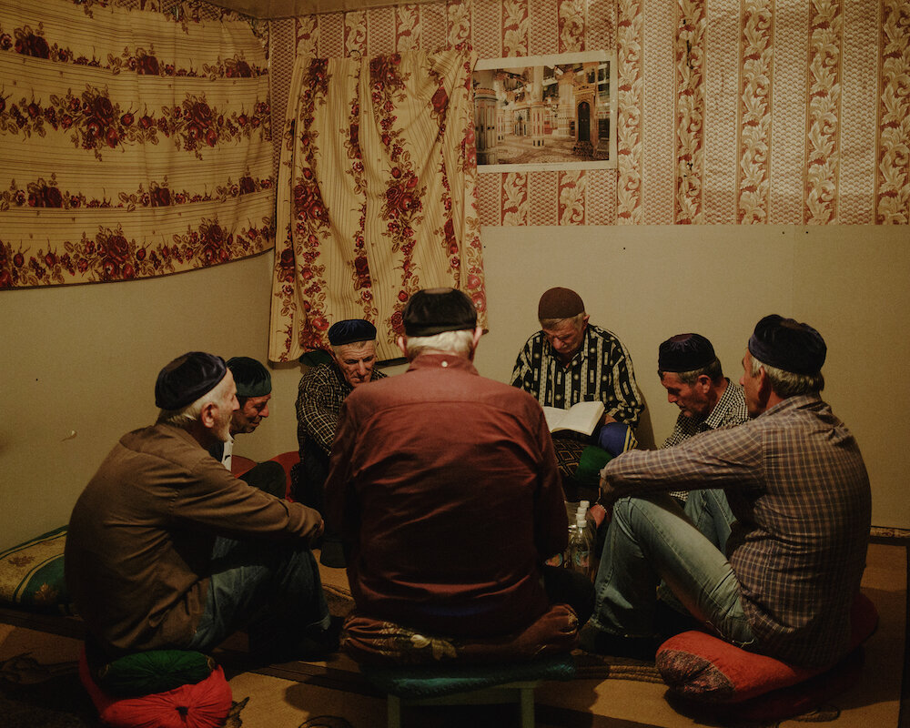A zikr ceremony for men in Khatuna Margoshvili old family's house praying room. It is also open to anyone willing to see it.